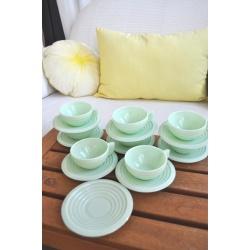 SERVICE à CAFE THE OPALINE vert mint (X8)
