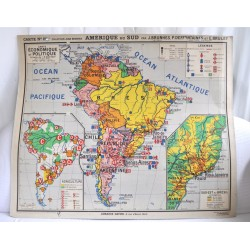 CARTE SCOLAIRE AMERIQUE DU SUD Collection J.Brunhes