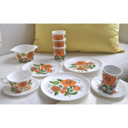 SERVICE MELAMINE TEFAL FLORAL orange vintage