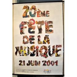"""AFFICHE """"20ème FÊTE de la MUSIQUE (2001) signée PLACID"""