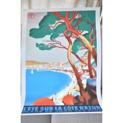 """AFFICHE """"L'ÉTÉ SUR LA CÔTE D'AZUR"""""""