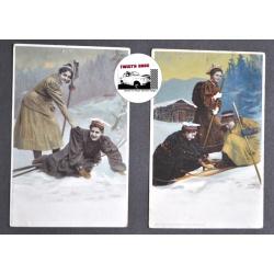 CARTES POSTALES ANCIENNES SKI NORVEGE 1900