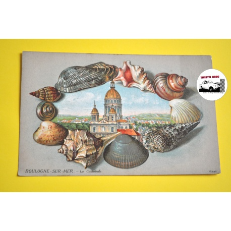 """CARTE POSTALE ANCIENNE lithographiée gaufrée BOULOGNE S/MER """"La Cathédrale"""""""